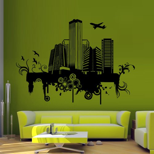 Wall Decal Decor Decals Art Sticker Ny City Map New York America Mural Plane Inscription Letter Word Bedroom (M1245) front-535034