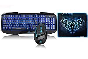 AFUNTA Aula Bundles Blue LED Keyboard+ Mouse Illuminated Backlit Multimedia Gaming Combos with AULA 11.8 * 9.2 Inch Gaming Mouse Pad