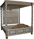 Janna Mahogany Antique White Four Poster Bed