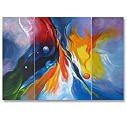 Neron Art - Handpainted Abstract Oil Painting on Gallery Wrapped Canvas Group of 3 pieces - Santa Cruzde 24X16 inch (61X41 cm)
