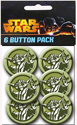 C&D Visionary Star Wars Clone Wars Yoda Colors 1.5 Inch Button, (6-Piece)