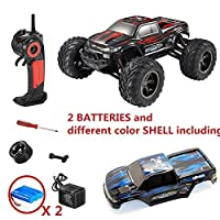 E-COM Monster RC Truck 35+MPH 1/12 Scale Full Proportional 2.4GHz 2WD High Speed RC Car Off Road 2 Li-ion Batteries Including 1 different color shell (Red + Blue+ Replacement Battery)