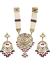Zeneme Designer Red Green Rani Jewellery Set / Necklace Set With Earring For Women/Girls