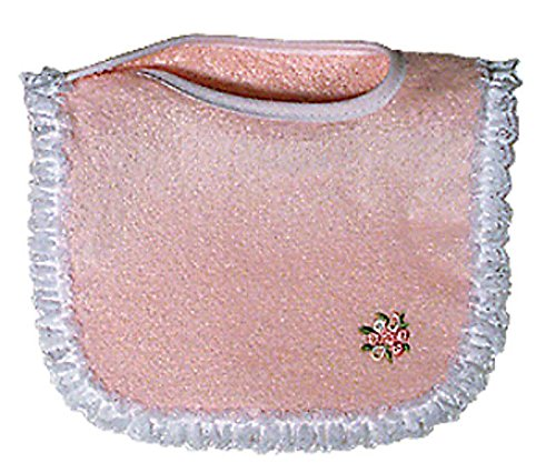 Raindrops Girl Appliqued Lace Bib, Pink