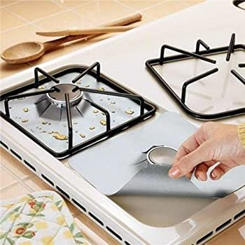 Gas Hob Protection Pad IdealHouse 4PCS Universal Aluminum Foil Reusable Non Stick Burner Stovetop Cover Protector Clean Sheet Liner Mat (Silver Colour)