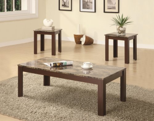 Wildon Home 3 Piece Occasional Table Set W/ Faux Marble Top