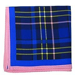 PS-A-407 - Blue - Yellow - Pink Italian Design Silk Pocket Square