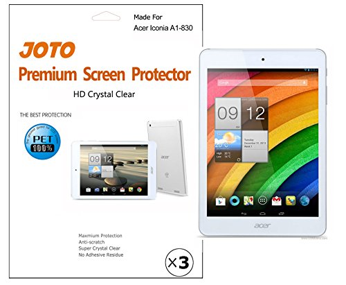 Joto - Acer Iconia A1-830 Tablet Screen Protector Film Guard Ultra Hd Crystal Clear (Invisible), With Lifetime Replacement Warranty (3 Pack)