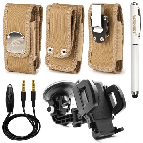 Naztek Warrior Holster Case Wtih 2 Option Al Belt Clip For Verizon Wireless Casio G'Zone Commando 4G Lte + Universal Windshield Mount Holder + 3.5Mm Stereo Auxiliary Audio Cable With Built In Microphone & On/Off Switch