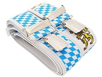 Bretelles de haute qualité pour Femmes / Hommes avec 4 clip extra fort 3,5cm large en 30 couleur design differentes - Fabriqué en Allemagne (Bavière)