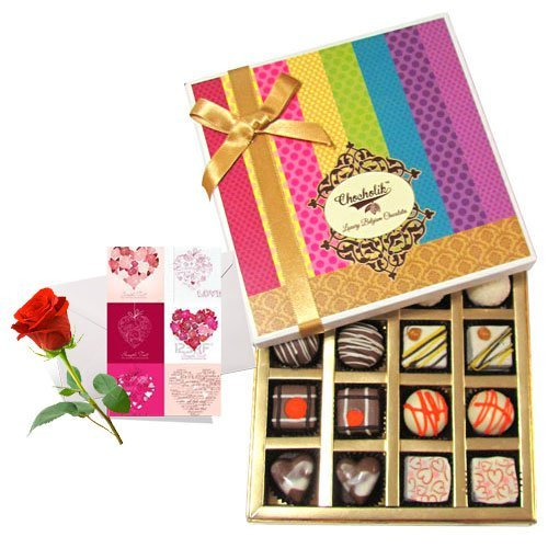 Creative Combination Of Dark And White Truffles And Chocolate Box With Love Card And Rose - Chocholik Belgium...