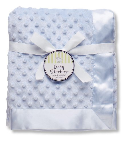 "Baby Starters Textured Dot Blanket with Satin Trim, Blue 30"" x 40"""