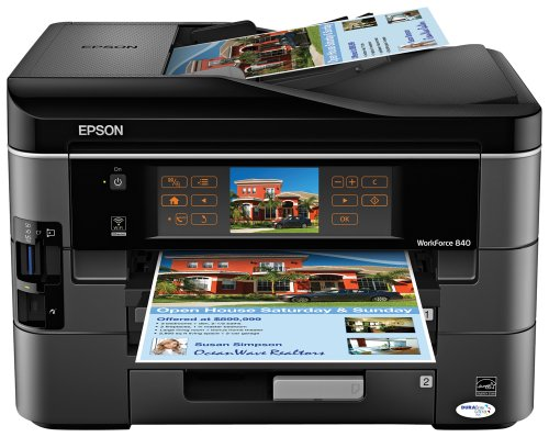 Epson WorkForce 840 Color Ink Jet Wireless All-in-One with Fax (C11CA97201)