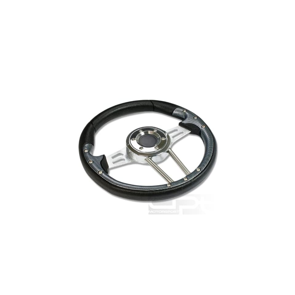 """SW T360, 330mm 12.9"""" Black PVC Leather Carbon Style Trim Silver Spoke 6 Hole Racing Aluminum Steering Wheel with Horn Button Automotive"""