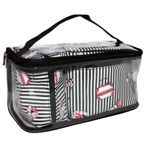 FMG Four 4 Piece Cosmetics Toiletries Bag Case Set - Black Stripe Design