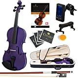 Mendini Full Size 4/4 MV-Purple Solid Wood Violin with Tuner, Lesson Book, Shoulder Rest, Extra Strings, Bow and Case, Metallic Purple