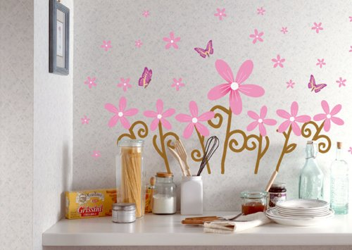 Glow in the Dark Pink Flowers & Butterflies Peel & Stick Removable Home Wall Art Sticker Decals