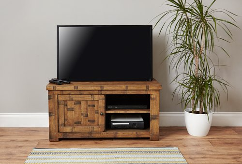 Baumhaus Heyford Rough Sawn Oak One Door Television Cabinet