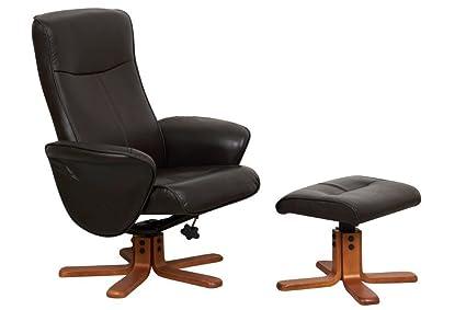 Muebles Global alianza Tuscany silla reclinable de piel sintética y el reposapiés, Chocolate