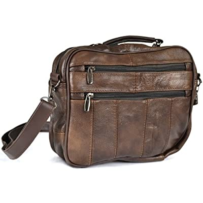 Leather Travel Bag with Carry Handle, Detachable Shoulder Strap and Mobile Phone Pocket (Dark Brown / Black / Tan). from LORENZ