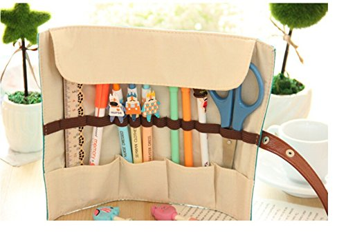 Cute Kawaii Cartoon Canvas Roll Pencil Case Lovely Fabric Roller Girl Pen Bag for Kids School ruize vintage diary thick notebook bible book leather agenda gold edge blank paper note book office school supplies stationery