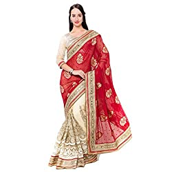 Suchi Fashion Cream Viscose And Net Embroidered Wedding Saree