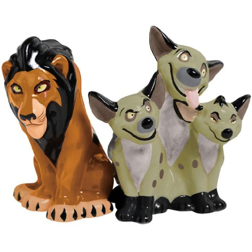 Westland Giftware Magnetic Ceramic Salt and Pepper Shaker Set, 3.25-Inch, Disney Scar and Hyenas, Set of 2