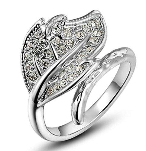 alimab Orecchini placcati oro da donna foglia oro promessa anelli D Zirconia Cubica, Metallo base placcato oro (oro rosa), 11,5, colore: oro rosa, cod. xxjiezhityix1376