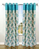 Homefab India's Set of 2 Stylish Aqua Blue Window Curtains (5X4ft.)