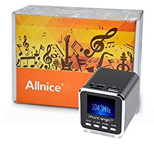 Allnice® Micro SD TF USB Mini Stereo Speaker Music MP3 Player FM Radio Black
