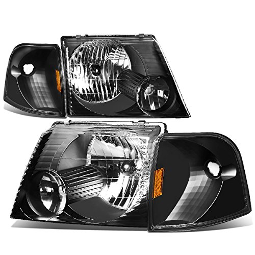 Ford Explorer U152 Pair of Black Housing Headlight+Amber Corner Signal Light (Ford Explorer Xlt Headlights compare prices)