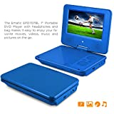 DVD Player, Ematic 7 inch Swivel Blue Portable DVD Player with Matching Headphones and Bag [ EPD707BU ]