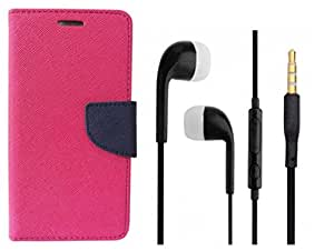 Novo Style Wallet Case Cover For Samsung Galaxy S DousS7562 Pink + Earphone / Handsfree with 3.5mm jack