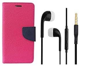 Novo Style Book Style Folio Wallet Case Samsung GalaxyJ7 Pink + Earphone / Handsfree with 3.5mm jack