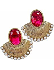 The Jewelbox Designer Gold Plated Pink Stone Pearl Earring For Women