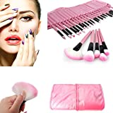 Hibote Bonito Rosa 32pcs Superior Suave CosmšŠtico Profesional Brocha de maquillaje Suave Brocha de maquillajees CosmšŠtico Make Up Brush Set Kit with Pouch Bag Case