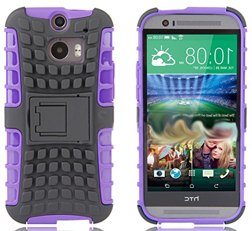 Mylife Amethyst Purple + Grey {Rugged Design} Two Piece Neo Hybrid (Shockproof Kickstand) Case For The All-New Htc One M8 Android Smartphone - Aka, 2Nd Gen Htc One (External Hard Fit Armor With Built In Kick Stand + Internal Soft Silicone Rubberized Flex