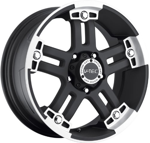 51JqUyutH8L 17x8.5 V Tec Warlord Matte Black w/ Machined Face Wheel Rim