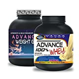 Weight Gainer 3KG Chocolate& ADVANCE 100% WHEY 25gm Protein Per 33gm 1kg Vanilla (Combo Offer)