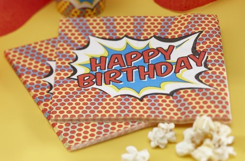 Ginger Ray Pop Art Superhero Decoration Happy Birthday Paper Napkins, Mixed