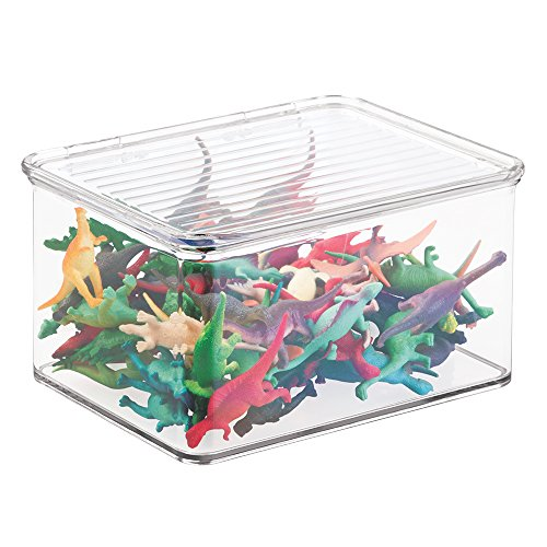 mDesign Kids/Baby Toy Storage Box, for Action Figures, Cars, Crayons, Puzzles - 6.75