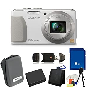 Panasonic Lumix DMC-ZS30 Digital Camera (White). Includes 8GB Memory Card, High Speed Memory Card Reader, Memory Card Wallet, Extended Life Replacement Battery, Case & Starter Kit