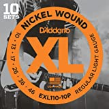 D\'Addario EXL110-10P XL Nickel Wound Jeu de cordes pour guitare �lectrique Tirant Regular Light (.010-.046) Pack de 10