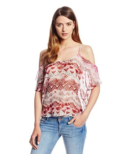 LAmade Women's Print Silk Chiffon Cold Shoulder Ruffle Top