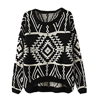 Zeagoo Women's Geometric Knitted Sweater Loose Pullover Outwear Black