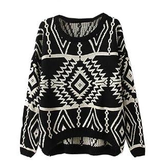 Zeagoo Women's Geometric Knitted Sweater Loose Pullover Outwear Black