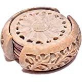 Artist Haat Handcarved Round Soapstone Coaster With Floral Carving Work (Beige, 7.5x7.5 Cm Approx. , Set Of 7)