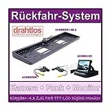 Rückfahrsystem Einparkhilfe : 170° Farb Rückfahrkamera Nummernschild Kennzeichen + Rückfahrkamera kabellos Funk +4,3