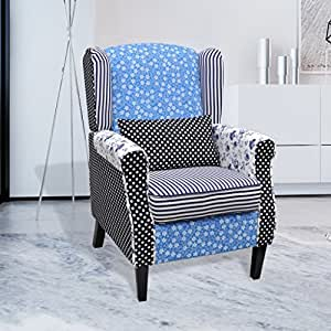 vidaxl patchwork relax sessel armsessel blumen blau wei k che haushalt. Black Bedroom Furniture Sets. Home Design Ideas