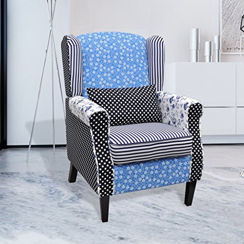 vidaXL Poltrona relax in trapunta stile pastorale fiori Blu e Bianco